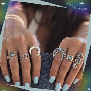 unique Bohemian moon , sea horse 6pc ring set